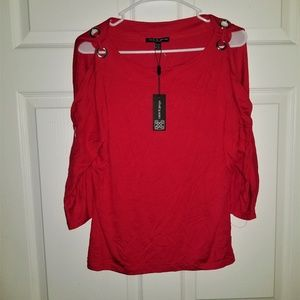 Cable & Gauge Petite Knit Top NWT PM Red